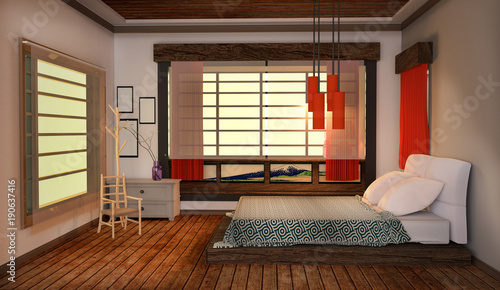 Bed Room Interior Japanese Modern Style Wooden Floor And Red Lamp