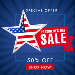 Presidents day sale, blue stripes banner. Happy President`s Day Sale discount labels for web banner special offer vector illustration