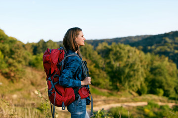 Beautiful Girl Traveling With Bag, Hiking In Nature.