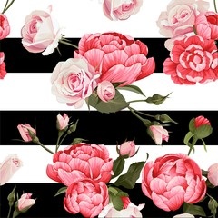 Peony And Roses Vector Seamless Pattern
