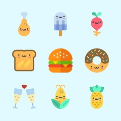 Icons about Food with chicken leg, popsicle, hamburger, pineapple, radish and toast