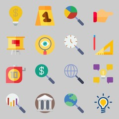 Icons set about Inspiration. with idea, evidence and museum