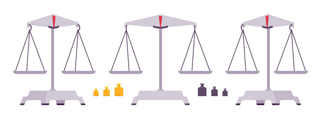 Balance scales with weights
