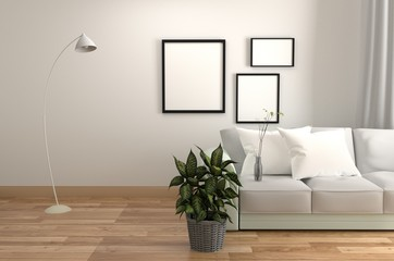 White Room Interior - Living room Scandinavian style - Modern room with sofa pillow lamp frame and plants, wooden floor on empty white wall background. 3D rendering