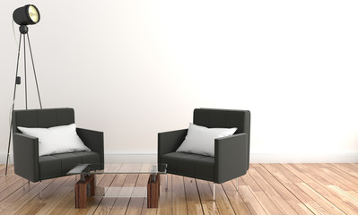 Living room two chairs and table glass. On the wall empty. 3D rednering