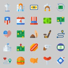 icons set about United States. with hamburger, gun, location, white house, route and rocket ship