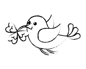 bird flying with clover in beak vector illustration sketch image design