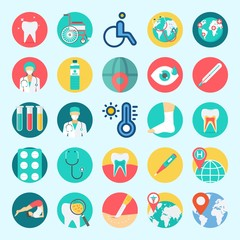 Icons set about Medical with stethoscope, teeth, tooth, wheelchair, sprain and tablets