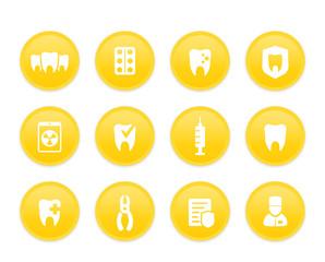 Teeth, dental care, stomatology, oral medicine, dentist icons set