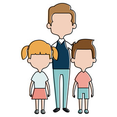 cute father with kids avatars characters vector illustration design