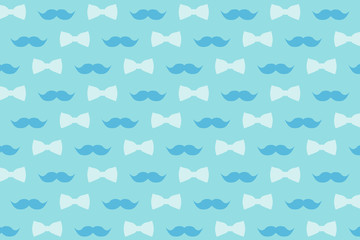 Mustache and bow tie in gently blue tones for design, wallpaper and decor.