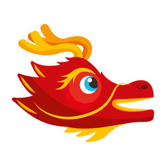 cute head red dragon animal mythological chinese vector illustration