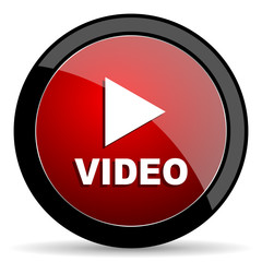Video play vector icon. Modern design red and black glossy web and mobile applications button in eps 10