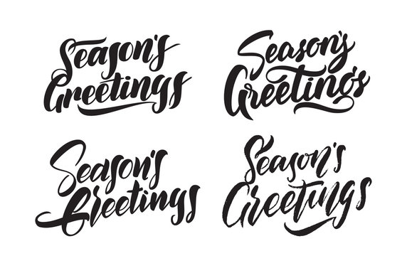 Set of Handwritten type lettering of Seasons Greetings. Typography design