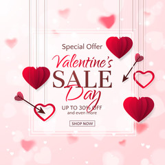 Vector template of sale banner for Valentine's Day with red paper hearts, arrows and a frame. Holiday pink background for design of flyers with special offers. With place for text.
