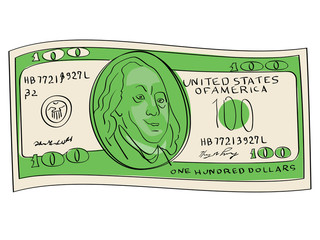 A hundred dollars object on a white background. Scientist, publicist and diplomat Benjamin Franklin
