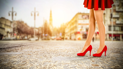 woman legs and red heels