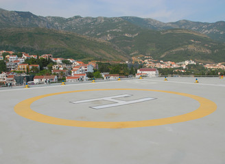 A helipad located high in mountains, Montenegro.