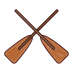 two wooden crossed boat oars sport vector illustration drawing design