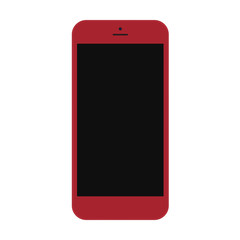 smartphone red color with blaсk touch screen isolated on white background. stock vector illustration eps10