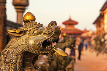 Bhaktapur Durbar Square, Guardian Statues, Nepal
