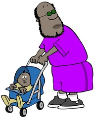Illustration of a black man wearing shorts pushing his young child in a stroller.