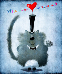 Vintage Valentines Day Cat With Top Hat Holding Flowers And Heart