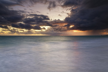 Carribean, Dominican Republic, Punta Cana, Playa Bavaro, view to the sea at sunrise
