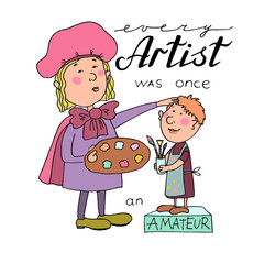 Vector illustration of cartoon Great artist with a palette and and boy-painter
