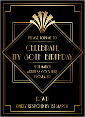 Geometric Gatsby Art Deco Style Birthday Invitation Design