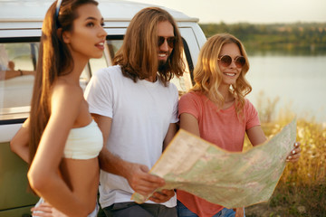 Friends Having Fun In Summer, Traveling By Car To Nature