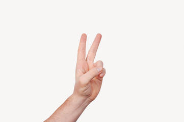 Man's hand showing peace sign isolated on white background