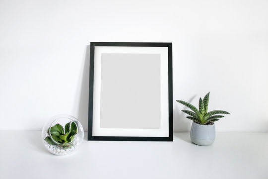 8x10 black portrait frame scene on desk with plants