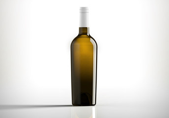 Dark Bottle of white wine, bordolese conical, still life on a white background.