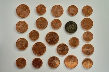 Euro coins money