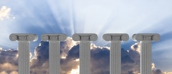 Five marble pillars of islam or justice and steps on blue sky background. 3d illustration