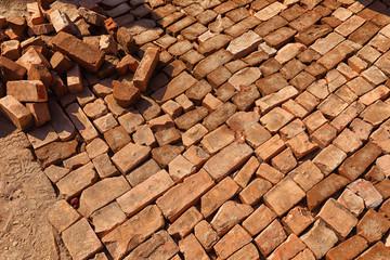 Paving with Recycled Bricks, Bhaktapur, Nepal