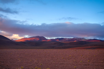 Sunset on altiplano mountains in sud Lipez reserva, Bolivia