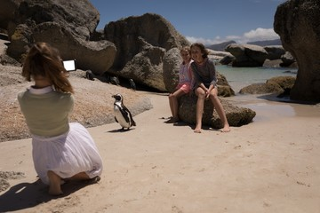 Girl taking picture of her siblings with penguin