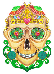 Art Skull Day of the dead. Hand watercolor painting on paper.