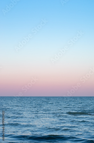 Fotomurais pink sky of sunset on the sea horizon, vertical composition.