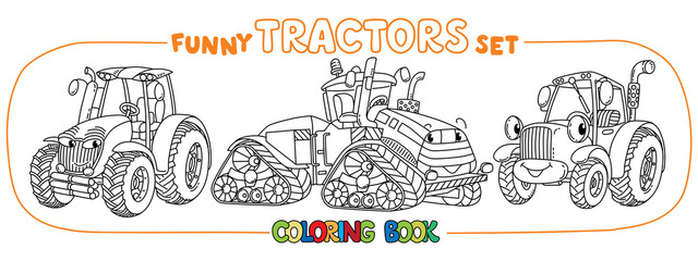 Funny small tractor set with eyes. Coloring book