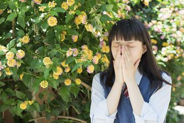 女子高生 花 ポートレート