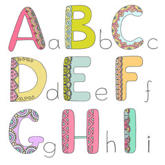 Kids alphabet with elements zen tangle