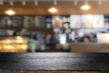 Aluminium Prints Tokyo Wood table top on coffee cafe counter bar background
