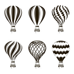 collection of monochrome hot air balloon images