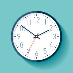 Clock icon in flat style with numbers, timer on turquoise background. Business watch. Vector design element for you project
