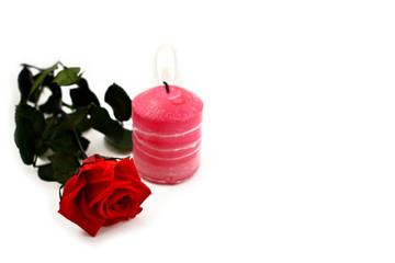 Red rose with candle stock images. Pink candle with red roses. Romantic roses on a white background. Valentines Day concept