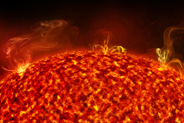 close up of solar flare on sun surface