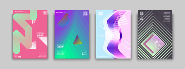 Set of colorful geometric abstract covers design for placards, banners, presentations. Vector illustration. EPS 10. A4 format.